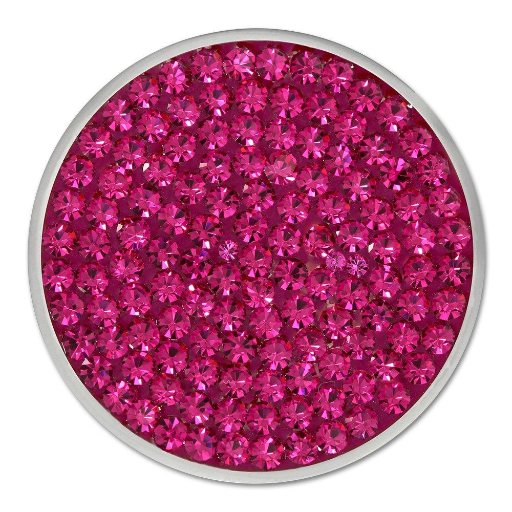 Amello bijoux en acier inoxydable - Amello pendentif en acier inoxydable - Coin avec zirconia fuchsia pour Coin Keeper - pendentif pour colliers - ESC301P