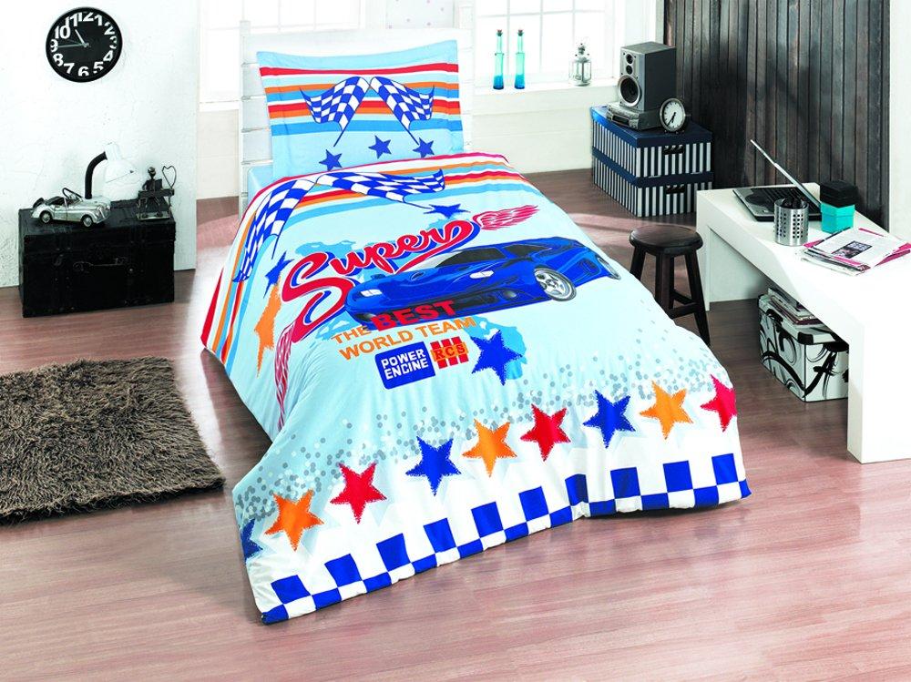 TI Home Ti-clasy Super Blau-Bettbezug-Set, 100% Baumwolle, Größe Ranforce Stoff mit 3-pieces Bettwäsche-Set