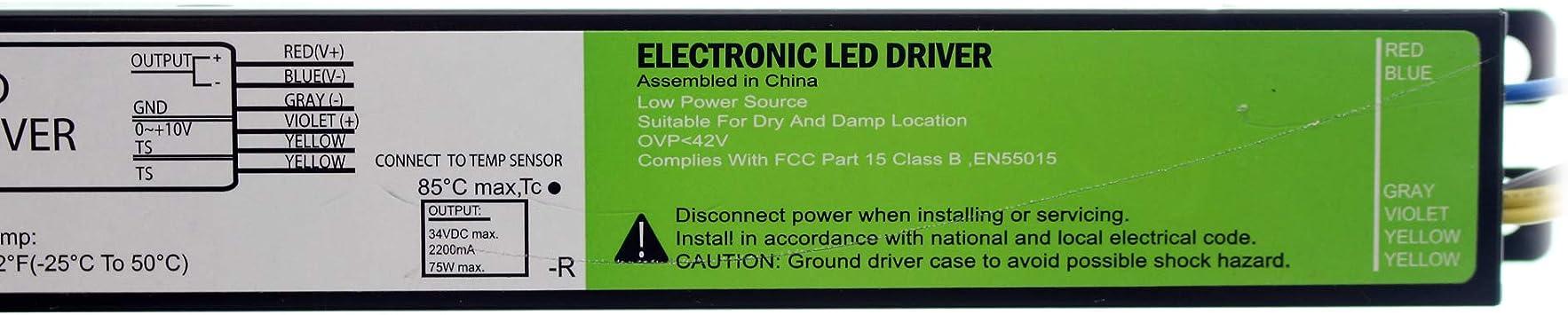 120//277V ACCUDRIVE PDM075W-2A2GE DIMMING LED DRIVER 34V @ 2200MA 75W 0-10V