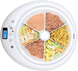 QPETS 6 Meals Automatic Pet Feeder Auto Cat Feeder Dog Automated with Programmable Timer,Auto Dry and Wet Food Dispenser for Cat and Dog Voice Recording and Playing