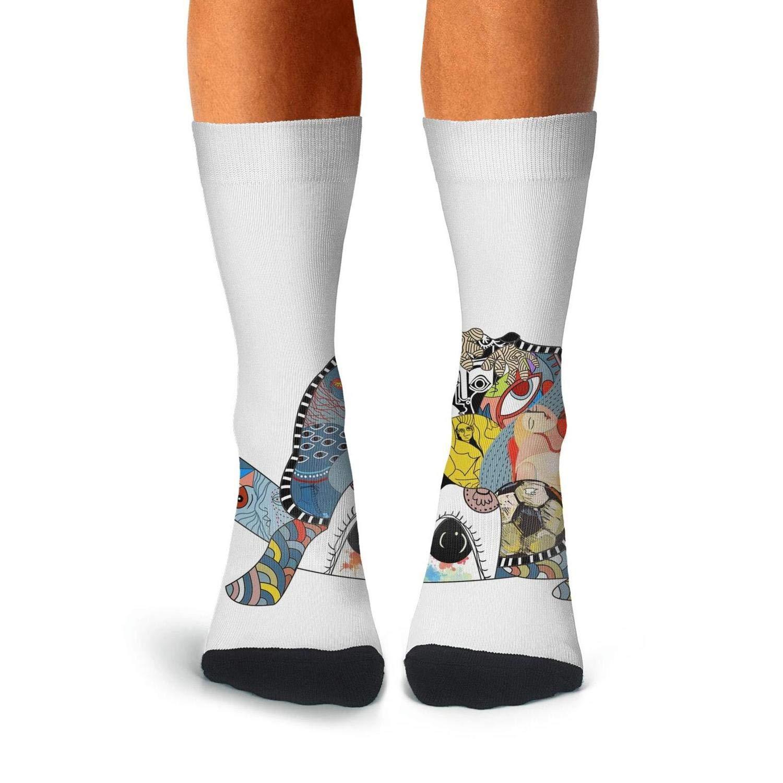 KCOSSH ocean sea animal Tortoise turtle Crazy Crew Sock Casual Calf Socks for Mens