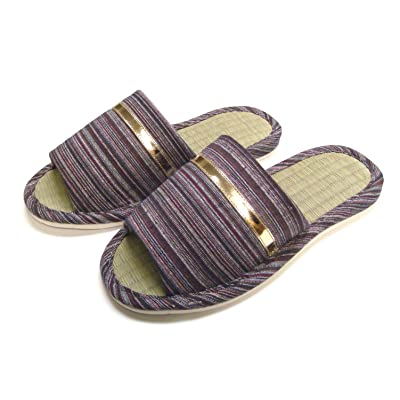 Men Wide Width Natural Tatami Bamboo House Slippers KNP21301T | Slippers