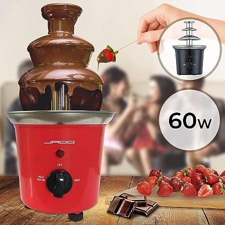 Jago Fuente de Chocolate de 3 Pisos - 60W, Torre de Acero Inoxidable de Altura 24,5cm, Capacidad 400g, Color a Elegir - Fondue Eléctrica con Niveles (Rojo)