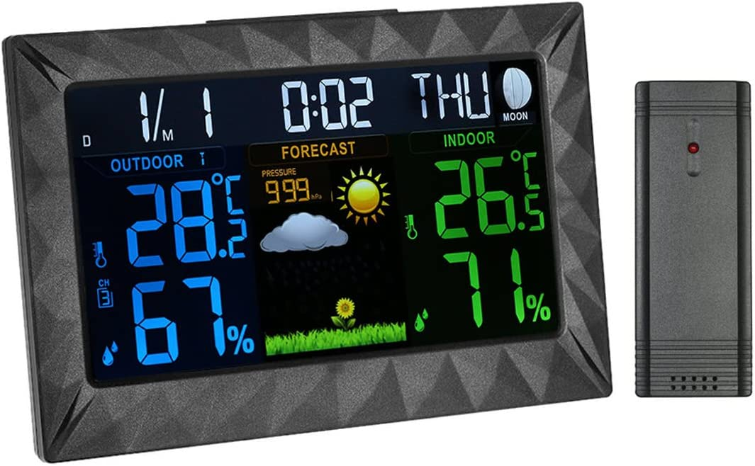 Wireless Indoor Outdoor Thermometer Room Hygrometer Temperature and Humidity Monitor Gauge Color Forecast Station with Alerts Weather Station Color Large Display