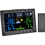 Digital Wetterstation Funkwetterstation mit außensensor Farbdisplay Mondphasen-Anzeige Luftfeuchtigkeit Wetter Station Hygrometer DCF-Empfangssignal/Innen- und Außentemperatur Wettervorhersage Piktogramm, Tendenzanzeige, LCD-Display