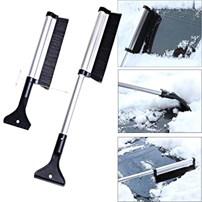 Ytuomzi Extendable Telescoping Snow Brush 2-in-1 Retractable Ice Scraper Multifunctional Snow Shovel Tool for Car Windshield Cleaning & Winter Deicing (A): Automotive