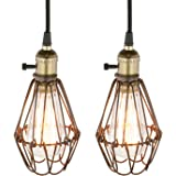 Pathson 2 Sets of Industrial Retro Metal Bird Cage Light Fittings Loft Bar Pendant Lights Hanging Ceiling Light Lamp Fixture Chandelier (2 pendant light, Antique)