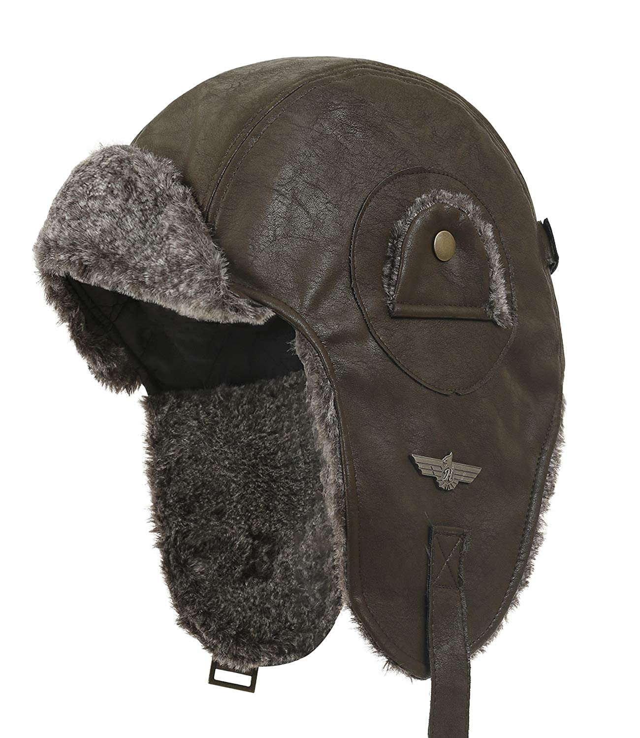 ililily Howels Faux Leather Aviator Trapper Trooper Faux Fur Ear Flaps Hat Black