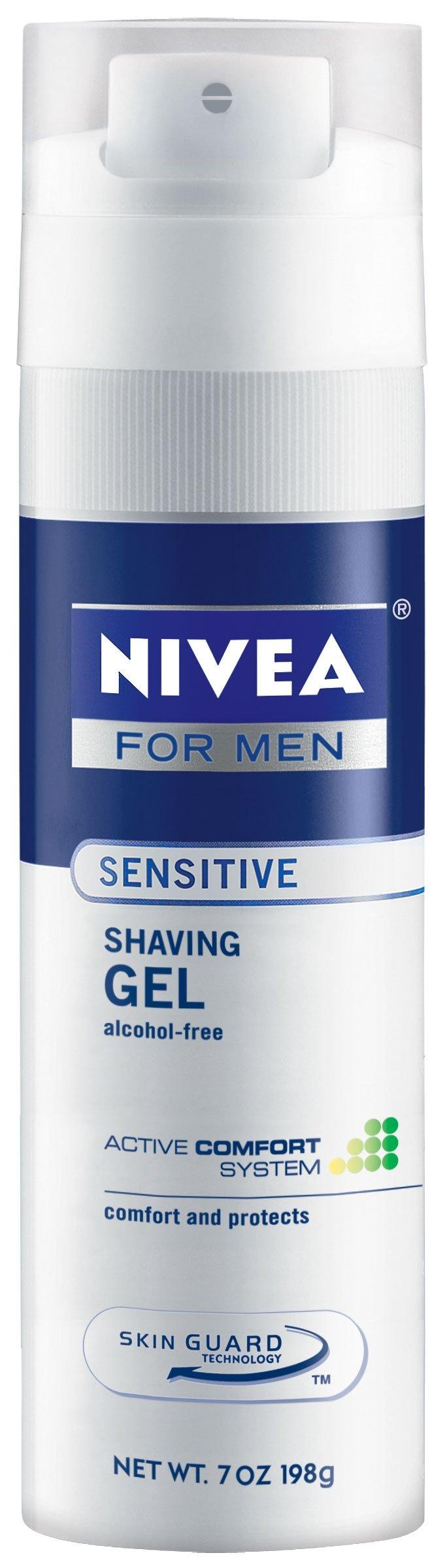 Nivea For Men Sensitive Shave Gel, 7-Ounce Canister (Pack of 12)
