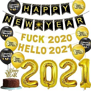 Suministros para fiestas de fin de a/ño 2021 Fuck 2020 Hello 2021 Banner Feliz a/ño nuevo Banner Cake Topper 2021 Globos para saludos a 2021 Holiday Party
