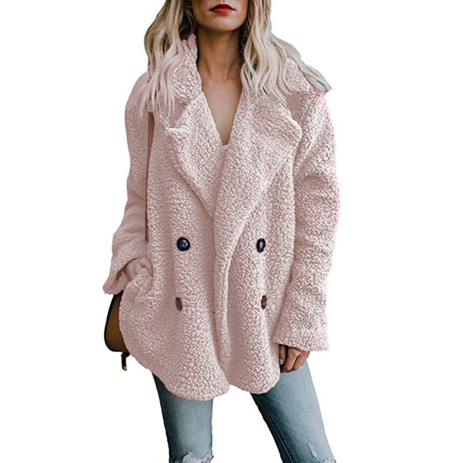 Wool Winter Coat Women Wide Lapel Loose Warm Outwear Female Casual JumperLadies Blend Coat Love essentials Ladys Coat