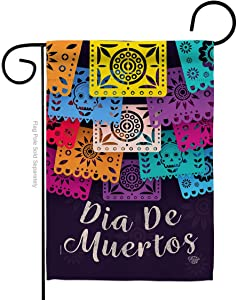 Ornament Collection Dia De Muertos Garden Flag Fall Day of Dead Los Fiesta Mexican Party Autumntime House Decoration Banner Small Yard Gift Double-Sided, Thick Fabric, Made in USA