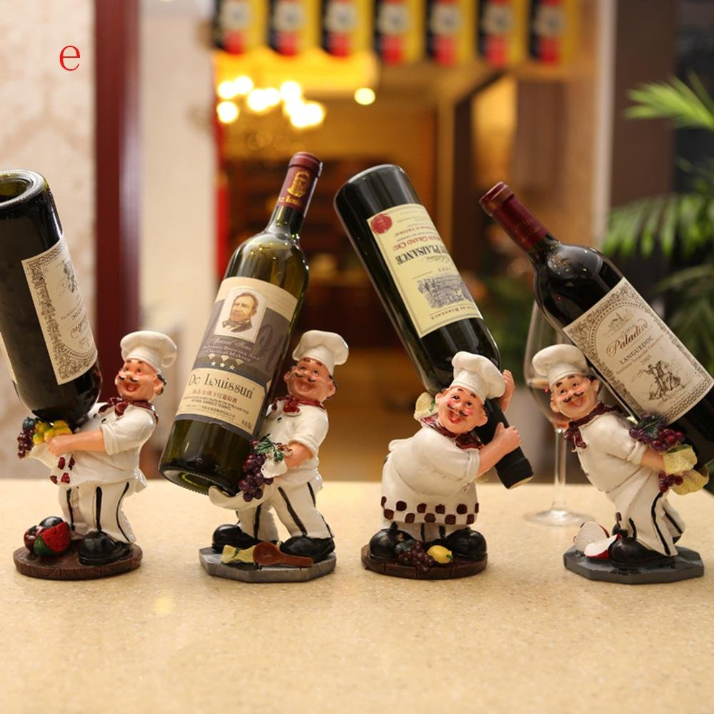 XUEXIN Cartoon chef Wine Place Rack creative decoration resin craft wine rack , e by XUEXIN