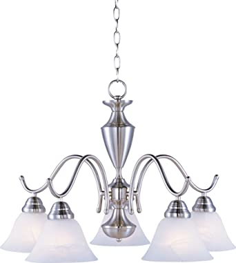 Amazon maxim lighting 12062mrsn newport 5 light chandelier satin maxim lighting 12062mrsn newport 5 light chandelier satin nickel finish with marble glass by mozeypictures Gallery