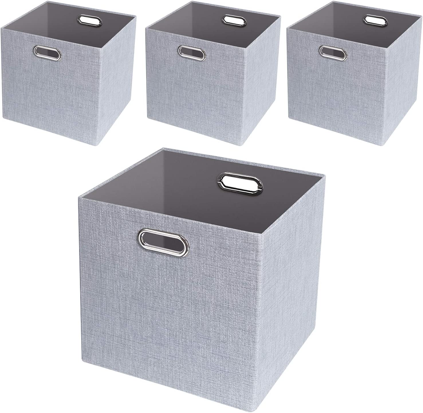 Amazon Com Posprica Foldable Storage Bins 11 11 Fabric Storage Boxes Drawers Cubes Container Thick And Heavy Duty Organizer Baskets 4pcs Sliver Grey Home Kitchen