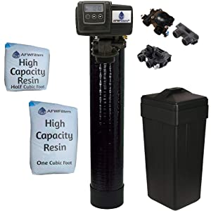 "Fleck 5600sxt Metered On-demand 48,000 Grain Water Softener with brine tank, bypass and 1"" adapters"