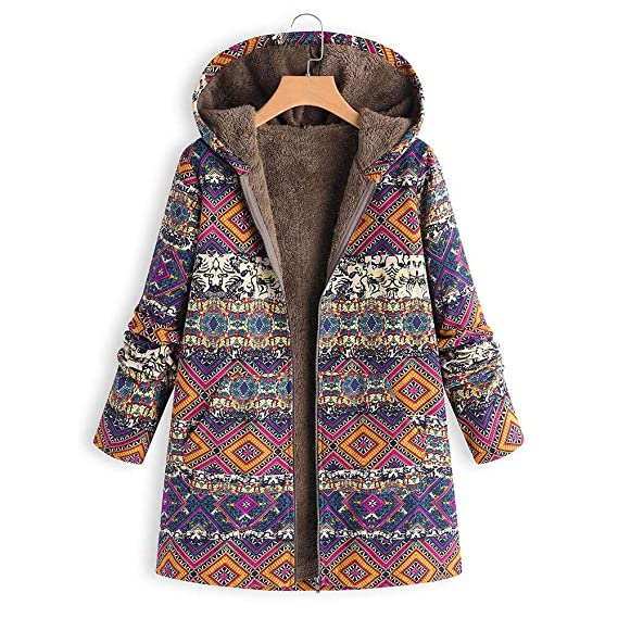 86ee43504c5 Women New Autumn Casual Daily coats Women Winter Warm Outwear Floral Print  Hooded Pockets Vintage Oversize