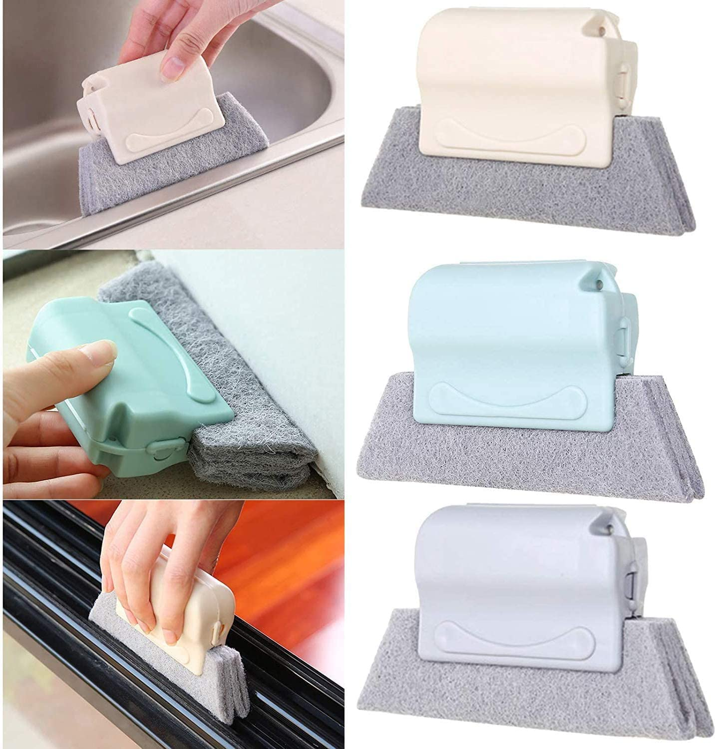 3 pieces of creative door and window gap cleaning brush, hand-held grip gap angle, multi-functional cleaning tool, suitable for sliding doors and windows, gaps, corners and corners.