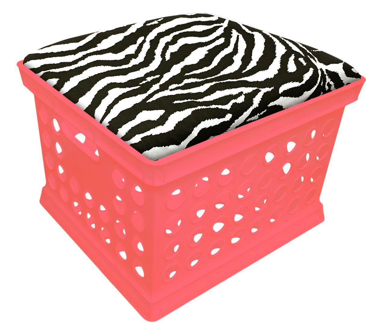 Pink Utility Crate Storage Container Ottoman Bench Stool for Office/Home/School/Preschools with Your Choice of Seat Cushion Theme and a Free Flashlight! (Black & White Zebra)