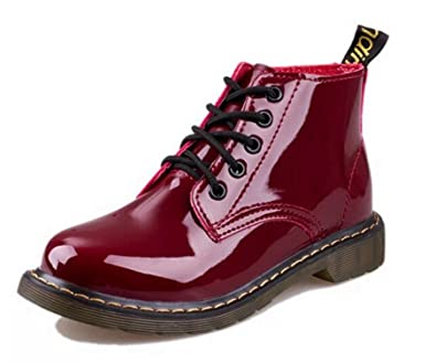 e41947a2a4b5e Amazon.com   Kennsgations Heel Pig Patent Leather Boots Women School Lace  Up Shoes Girls Red Black Motorcycle Ankle Boots   Ankle & Bootie