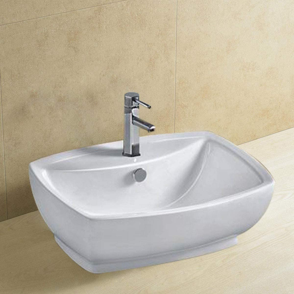 Bathroom Rectangular Porcelain Vessel Sink Above Counter White Countertop Bowl Sink for Lavatory Vanity Cabinet Contemporary Style E-CL-1090