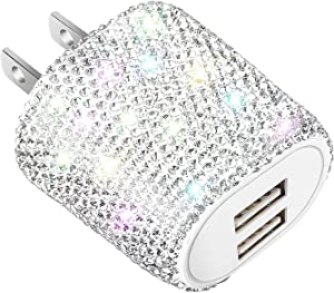 Bling USB Wall Charger,24W Dual Port Plug Charging Block Adapter for iPhone 11/Xs/XS Max/XR/X/8/7/6/Plus,iPad,Android,Samsung Note Galaxy 9/8/7/10,Cell Phone Accessories for Women