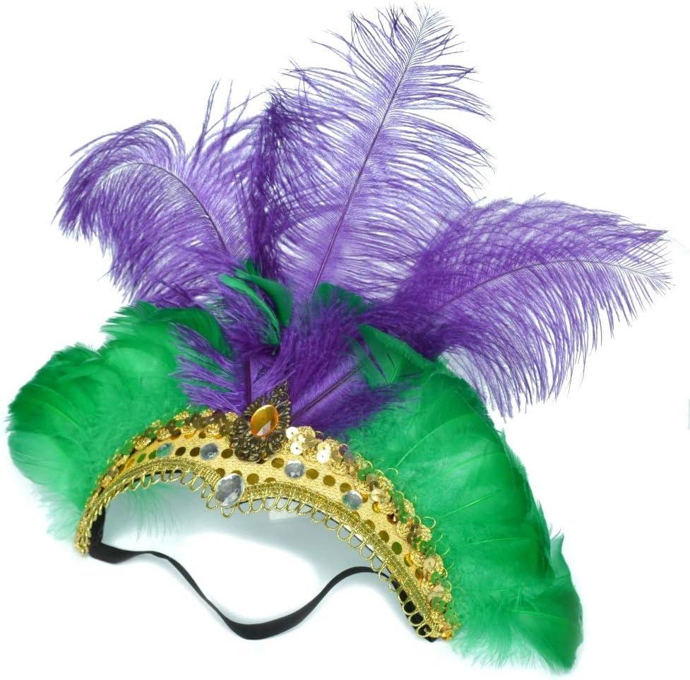 Exquisito tocado de plumas elásticas Tocado de plumas de avestruz ...