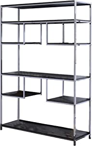 Benjara Etagere Bookshelf with 7 Shelves and Geometric Pattern, Silver and Gray