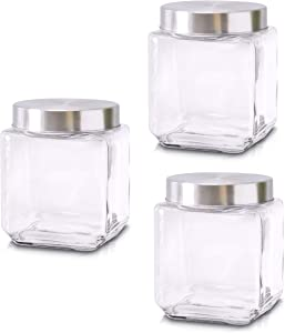 Food Storage Containers – Set of 3 Glass Jars with Stainless Steel Lids – Square Glass Containers for Coffee, Spices, Beans and Food – Reinforced Lid for Secure Closure – 40oz