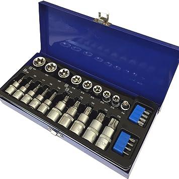 0,95 cm y 1,27 cm disco duro TRX juego de llaves de vaso - T20 - T70 y E10 - E24 hembra y macho para llaves de vaso estrella Torx
