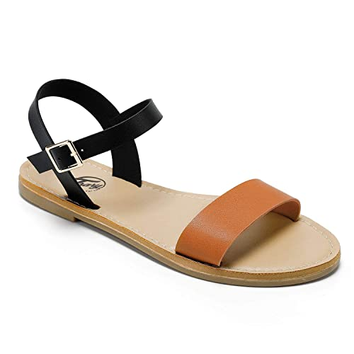 c253b3a468d Trary Flat Sandals - Ankle Strap Casual Summer Sandals with Buckled Closure  for Women Brown-