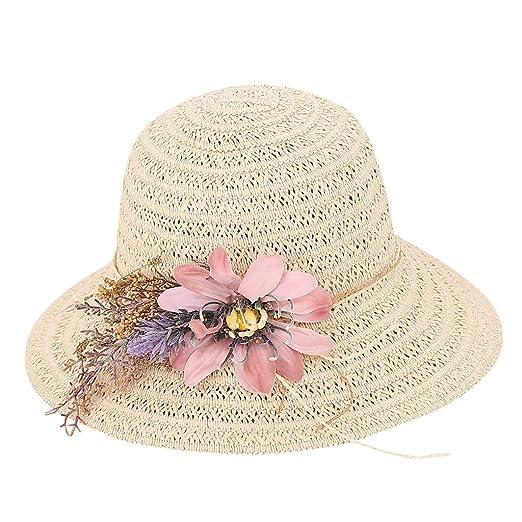 5e54a22d3c Womens Wide Brim Sun Hat with Wind Lanyard UPF 50 Beach Summer Sun Straw  Hats for