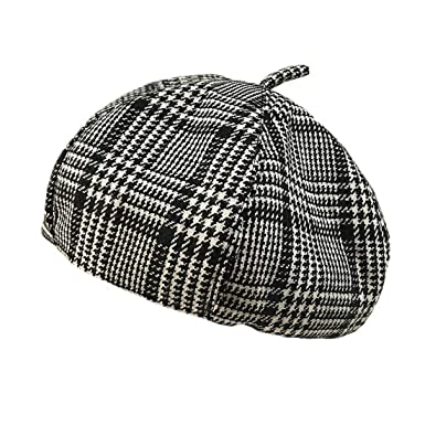 b54d4b6ac34 ACVIP Womens Classical Boundstooth Beret Hat (Black Plaid)  Amazon.co.uk   Clothing