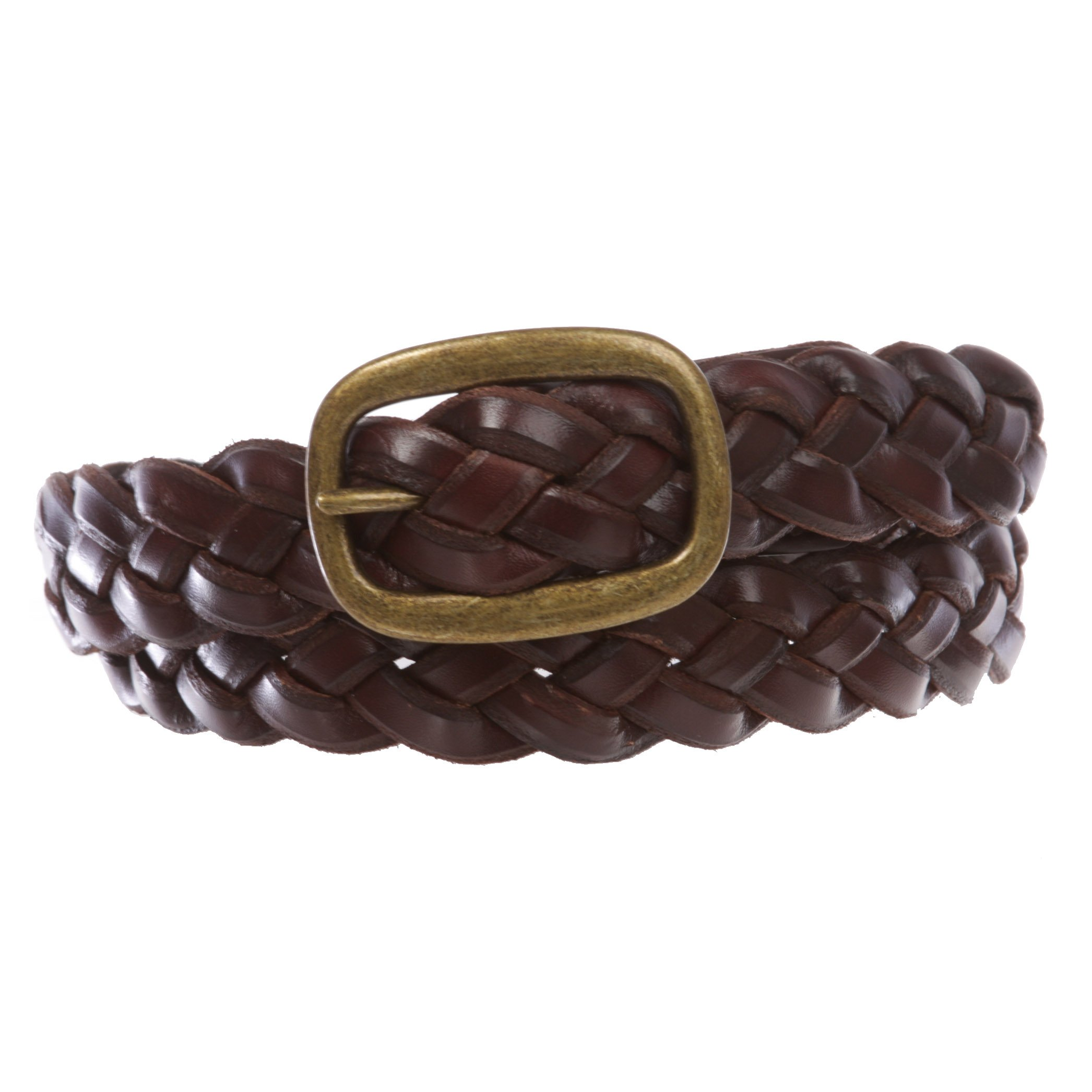 Women's 1 1/4'' Braided Woven Cowhide Top Full Grain Solid Two-Tone 3D Style Vintage Leather Belt, Brown | M/L-36''