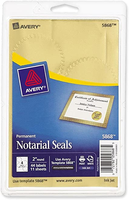 Avery Inkjet Print Or Write Notarial Seals 2 In Diameter Gold 44 Pack Pk Ave05868