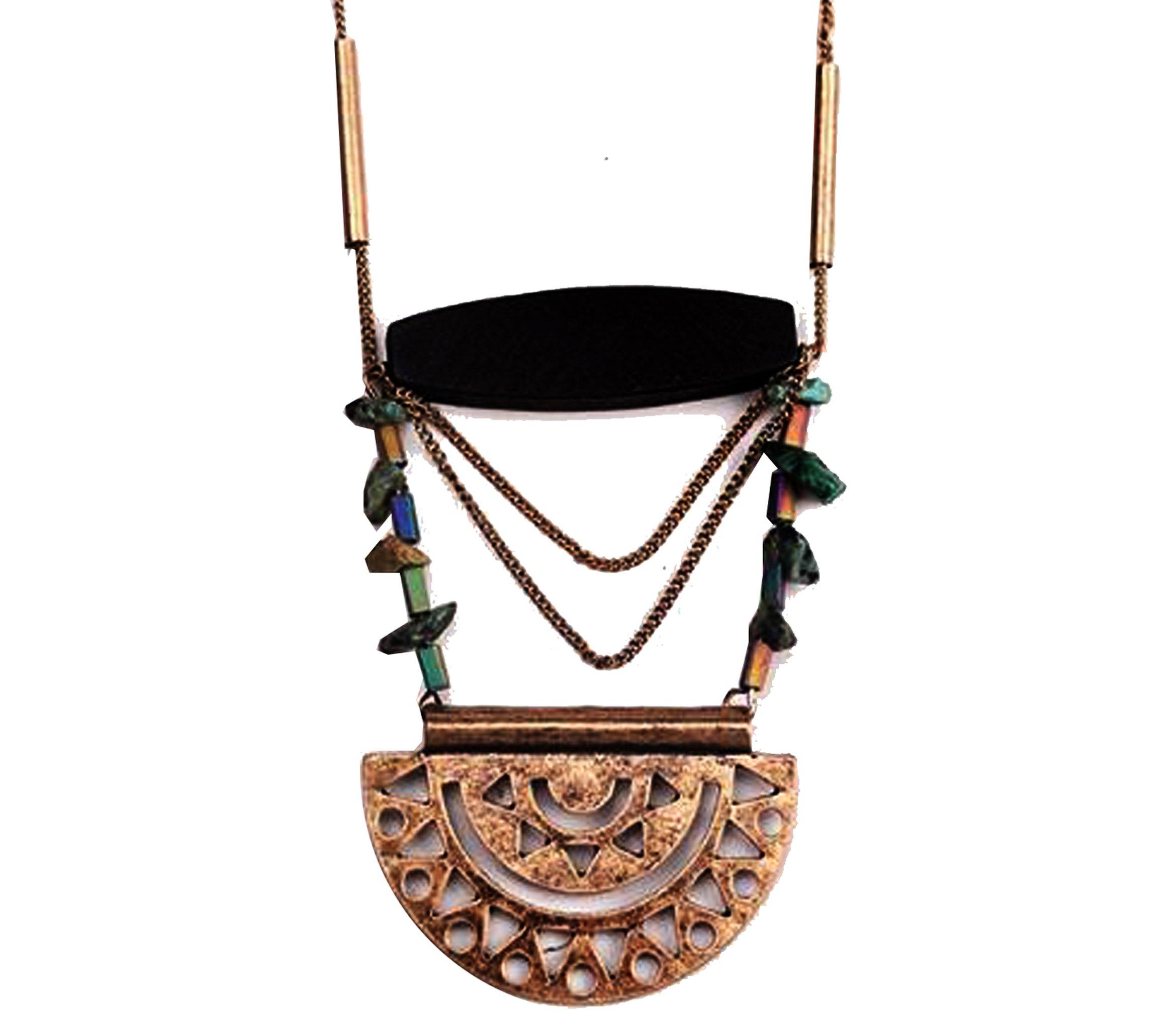 Bohemian Long mixed metal Retro Lock pendant Necklace by HIYOU-Home(Retro lock)