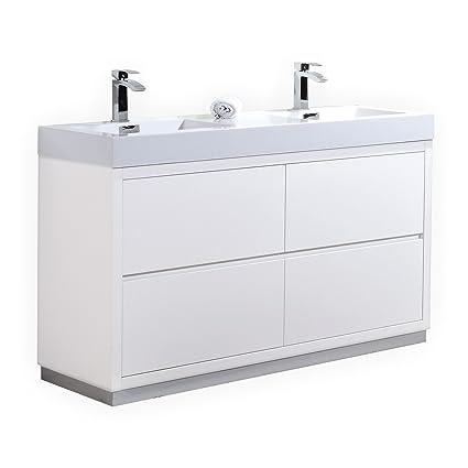info for 9d955 2f203 Bliss 60″ High Gloss White Double Sink Floor Mount Modern Bathroom Vanity