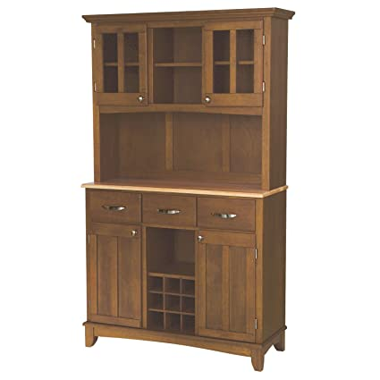 Large Buffet With Two Glass Door Hutch, Cottage Oak With Natural Top, Solid  Hardwood