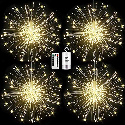 FOOING 4 Pack Firework Lights Led Copper Wire Starburst String Lights 8 Modes Battery Operated Fairy Lights with Remote,Wedding Decorative Hanging Lights for Party Patio Garden Decoration White