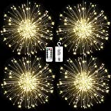 FOOING 4 Pack Firework Lights Led Copper Wire Starburst String Lights 8 Modes Battery Operated Fairy Lights with Remote…