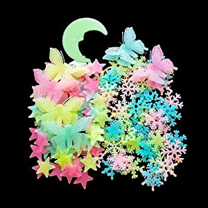 Kiddale 307 Pcs Glow in Dark Stars,Moon,Snowflake and Butterfly- Bright Multicolor Wall Stickers for Ceiling Decals-Bedroom Living Room Decor Kit for Kids Boys Girls
