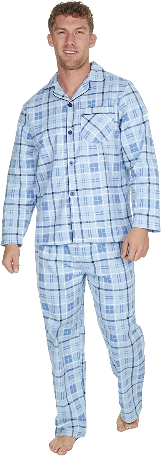 Mens Brushed Cotton Pyjama Set Nightwear Flannelette Pyjamas Striped Pattern Design