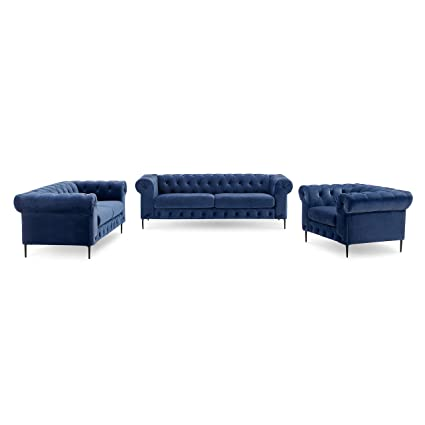 Amazon.com: 3-Piece Tufted Velvet Sofa Living Room Set with Rolled ...