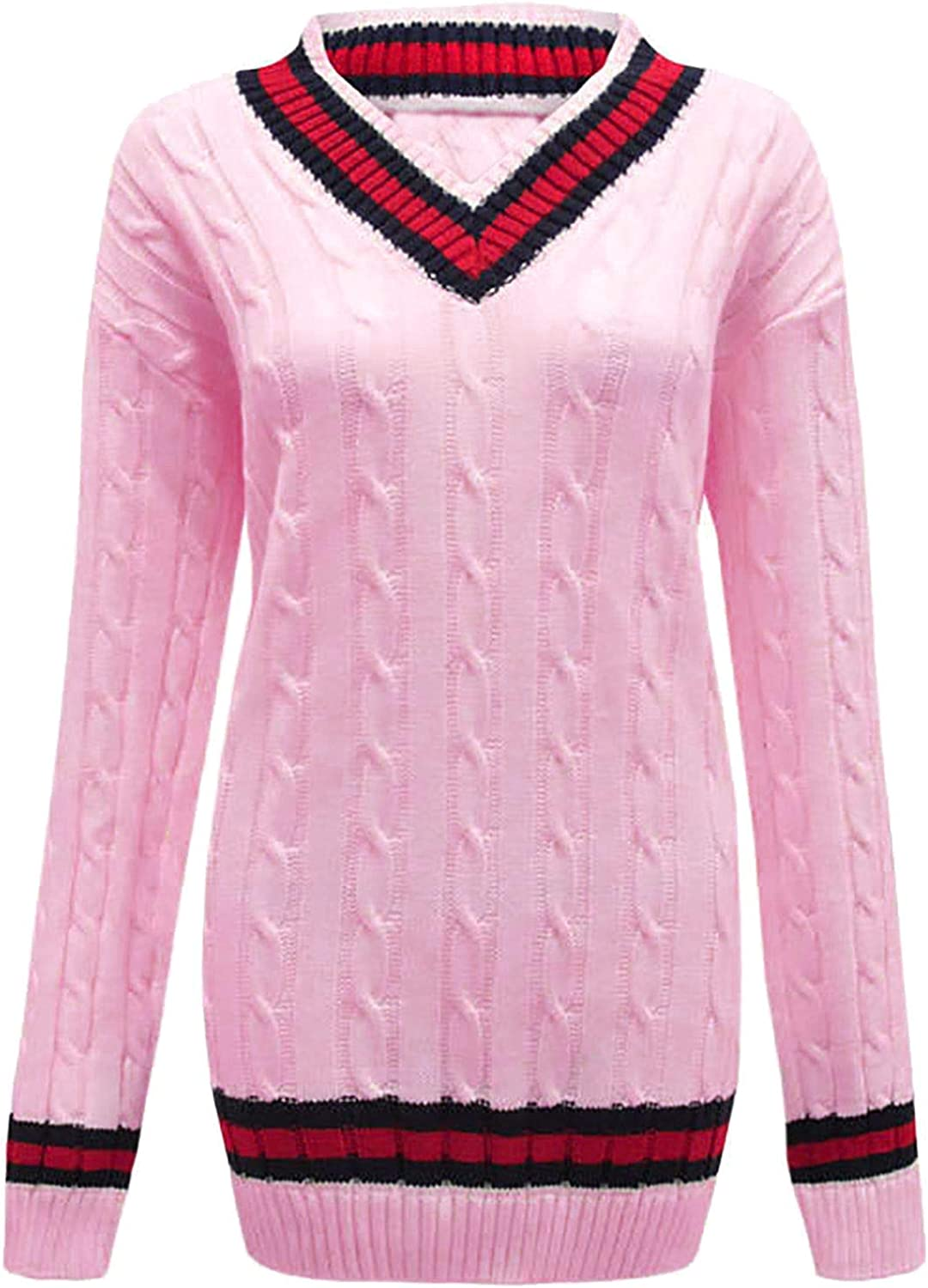 ER Traders Ltd New Ladies V Neck Cable Knitted Cricket Jumper Womens Outdoor Stretch Long Sleeve Striped Sweater Top