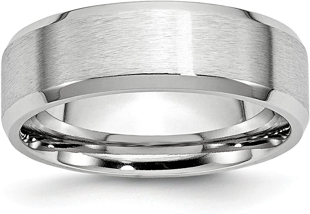 Jewels By Lux Cobalt Beveled Edge Satin and Polished 7mm Band