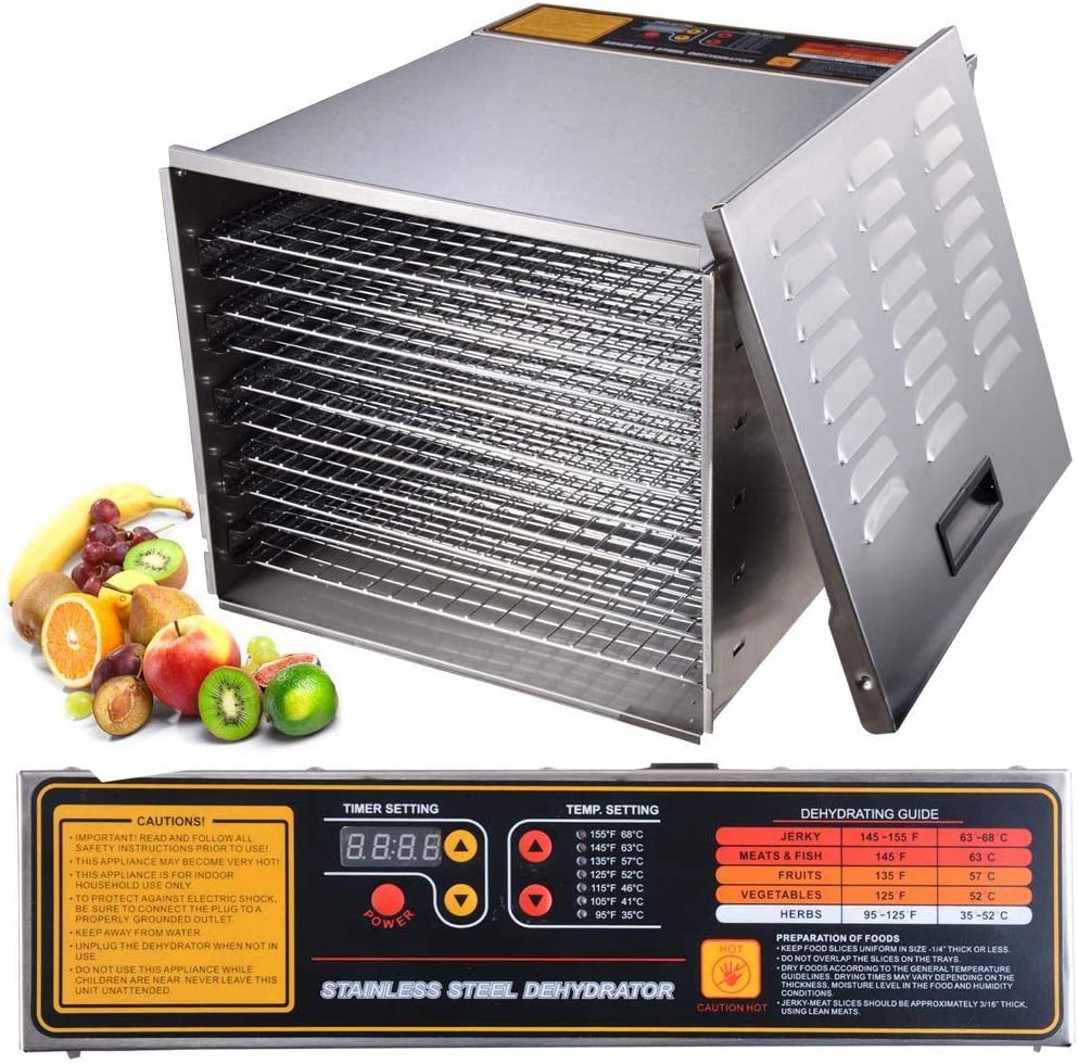 1200 Watt 10 Tray Family Commercial Food Fruits Grains Vegetables Meat Dehydrator