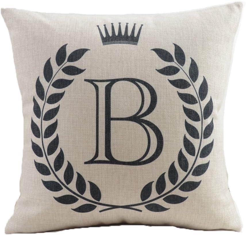 "HYSENM Alphabet Series 26 Letters 18""X18"" Cotton Linen Home Sofa Chair Car Bed Décor Throw Pillow Case Cushion Cover, B"