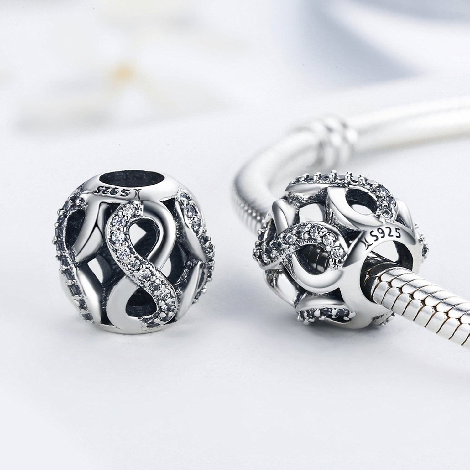 Sterling Silver Infinity Love Bead Charms,Shine Openwork Charm Beads with AAA CZ Fit Snake Chain Bracelet (Infinity Love Charm) by XingYue Jewelry (Image #2)