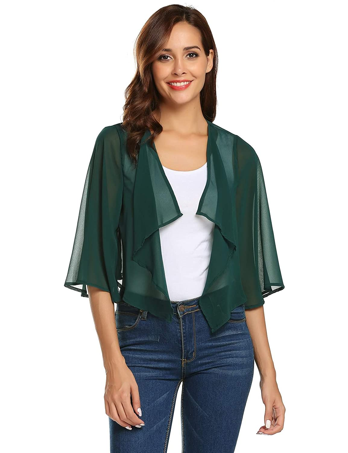 Pinspark Women's Sheer Bolero Shrug Shawl Chiffon Thin Cardigan