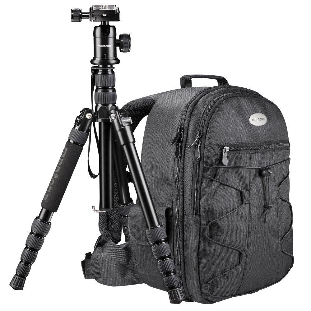 Mantona Azurit Fotorucksack für SLR DSLR Kamera mit Halterung Stativ, Kamerarucksack, Camera Tasche groß, Backpack schwarz Camera Tasche groß 19578